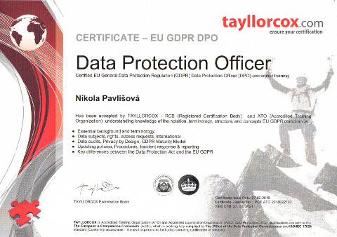 Certifikát Data Protection Officer.
